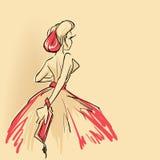 Элегантная женщина с муфтой бесплатная иллюстрация