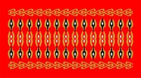 Элегантная и декоративная граница индусской и арабской воодушевленности различной предпосылки цветов, золотых, черно-белого и кра Стоковое Изображение