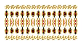 Элегантная и декоративная граница индусской и арабской воодушевленности различной предпосылки цветов, золотых и красных и белых Стоковые Изображения
