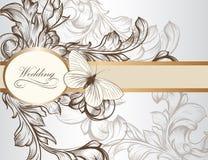 Элегантная карточка приглашения свадьбы для дизайна Стоковые Фото