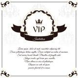 Элегантная карточка VIP белизны Оно исполнено в викторианском стиле с орнаментом лист Соответствующий для дизайна приглашений Стоковое Фото