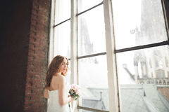 Элегантная красивая невеста свадьбы представляя около большого свода окна Стоковое фото RF