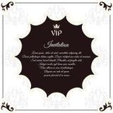 Элегантная круглая открытка для приглашений VIP С густолиственными элементами викторианского стиля Цвета коричневы с белизной Стоковые Фотографии RF