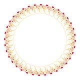 Элегантная круглая рамка с красными сердцами Стоковое Изображение