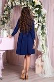 Элегантная молодая женщина в платье вечера представляя в интерьере Фасонируйте портрет стиля красивой девушки в интерьере Стоковые Изображения