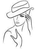 Элегантная молодая женщина в шляпе иллюстрация штока
