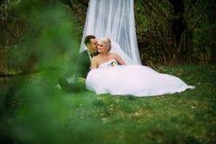 Элегантная молодая счастливая пара свадьбы сидит на зеленой траве дальше Стоковые Изображения RF