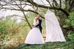 Элегантная молодая счастливая пара свадьбы сидит на зеленой траве дальше Стоковое Изображение RF