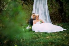 Элегантная молодая счастливая пара свадьбы сидит на зеленой траве дальше Стоковое Фото