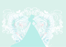 Элегантная невеста в большом белом платье Стоковые Фотографии RF
