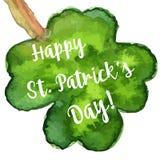 Элегантная поздравительная открытка дня St. Patrick акварели Стоковое Изображение RF