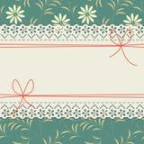 Элегантная рамка шнурка с красивым стоцветом цветет, заводы Стоковые Изображения RF