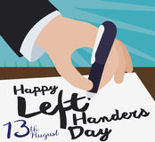 Элегантная рука писать сообщение приветствию для международных левшей дня, иллюстрации вектора иллюстрация штока