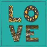Элегантная типографская чернота золота карточки влюбленности на зеленом цвете нефрита Стоковая Фотография RF