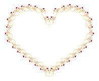 Элегантная флористическая рамка в форме сердца Стоковая Фотография RF