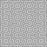 Элегантная черно-белая картина вектора, геометрическая квадратная плитка Стоковые Изображения RF