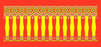 Элегантная, эффектная и декоративная граница индусской и арабской воодушевленности различных цветов, желтого цвета, белизны, свет Стоковые Фото