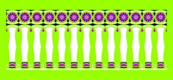 Элегантная, эффектная и декоративная граница индусской и арабской воодушевленности различных цветов, белизны, черноты и пурпура Стоковая Фотография RF