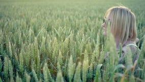 Элегантное замедленное движение пшеницы стиля женщины красоты акции видеоматериалы