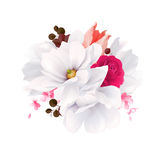 Элегантность цветет букет белых красивых магнолий, розы цвета и тюльпана Состав с цветками цветения вектор бесплатная иллюстрация