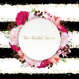 Элегантность цветет рамка роз и тюльпанов цвета Состав с цветками цветения иллюстрация штока