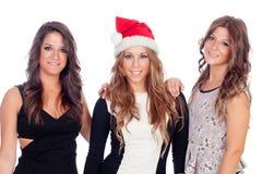 Элегантные женщины празднуя рождество Стоковое Фото