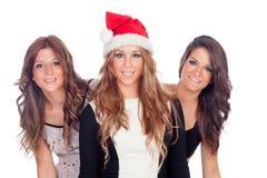 Элегантные женщины празднуя рождество Стоковые Фотографии RF