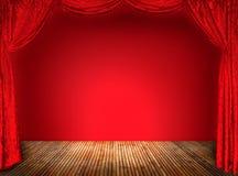 Элегантные занавесы красного цвета театра Стоковая Фотография