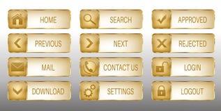 Элегантные золотые установленные значки кнопок сети вектора Стоковое Фото