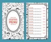 Элегантные и простые ресторан морепродуктов или меню кафа Бесплатная Иллюстрация