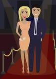 Элегантные пары в официально платье на красном ковре в фаре Стоковое Изображение