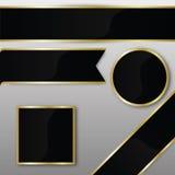 Элегантные установленные значки ленты вектора черного золота Стоковая Фотография RF