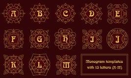 Элегантные шаблоны дизайна вензеля с письмами Стоковая Фотография RF