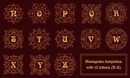 Элегантные шаблоны дизайна вензеля с письмами Стоковые Фото