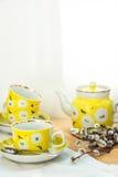 Элегантный желтый комплект чая с флористическим орнаментом на постаретой деревянной таблице, букет верб, весна, завтрак-обед пасх Стоковое фото RF