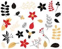 Элегантный комплект листвы зимы Иллюстрация штока