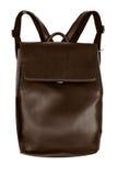 Элегантный коричневый кожаный рюкзак изолированный на белой предпосылке Стоковое фото RF