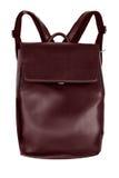 Элегантный рюкзак кожи oxblood красного цвета изолированный на белом backgroun Стоковые Изображения RF