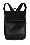 Элегантный черный кожаный рюкзак изолированный на белой предпосылке Стоковые Фотографии RF