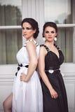 2 элегантных девушки в черно-белом Стоковая Фотография RF