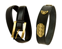 2 элегантных черных кожаных пояса Стоковая Фотография RF