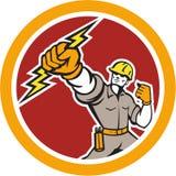 Электрик владея кругом удара молнии ретро Стоковая Фотография