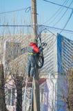 Электрик работника ремонтирует провода на поляке улицы стоя на лестницах Стоковое Изображение