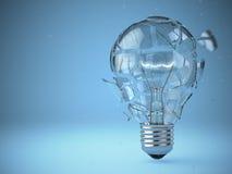 Электрическая лампочка взрывая Концепция идеи Стоковые Изображения RF