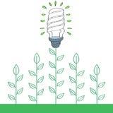 Электрическая лампочка вкладчика энергии с зелеными растениями иллюстрация штока
