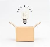 Электрическая лампочка в коробке Стоковая Фотография