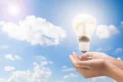Электрическая лампочка в руке женщины, реалистическом изображении фото Поверните дальше вольфрам Стоковое Фото