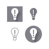 Электрическая лампочка, значок внимания для пользовательского интерфейса Стоковые Фотографии RF