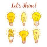 Электрическая лампочка и лампа СИД Комплект лампочек изолированных на белой предпосылке Стоковые Фото