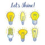 Электрическая лампочка и лампа СИД Комплект лампочек изолированных на белой предпосылке Стоковые Изображения